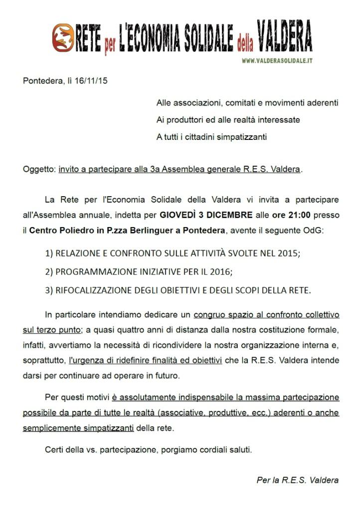 Lettera invito 3a Assemblea generale RES Valdera 3-12-15